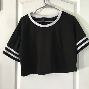 Forever 21 Black Crop Top Jersey